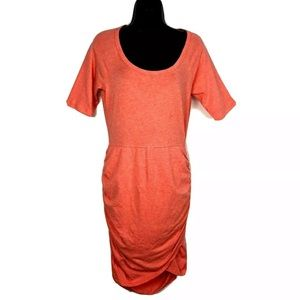 Athleta S Dress Seeker Tee knit ruched Coral